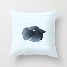 betta splendens black veiltail male Throw Pillow