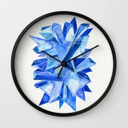 Sapphire Watercolor Facets Wall Clock