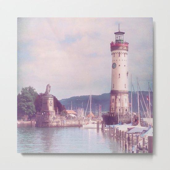Lighthouse at Lindau, Lake of Constance Metal Print