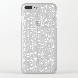 Hieroglyphics B&W INVERTED / Ancient Egyptian hieroglyphics pattern Clear iPhone Case