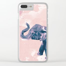 Low Poly Elephant Watercolor Clear iPhone Case