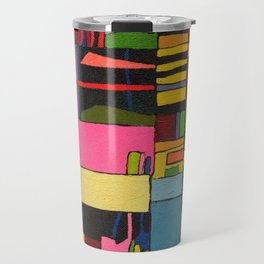 Colors in Collision 2 - Geometric Abstract in Blue Yellow Pink and Green Travel Mug