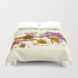 Critters: Fall Camping Duvet Cover