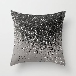 Silver Gray Glitter #1 #shiny #decor #art #society6 Throw Pillow