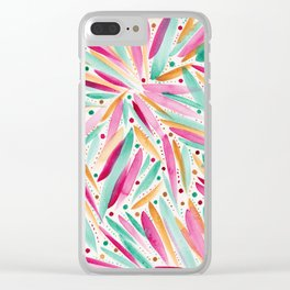 Summer Vibes in stripes and dots Clear iPhone Case