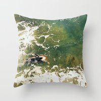 surfer Throw Pillows featuring Surfer  by Ed Pulella