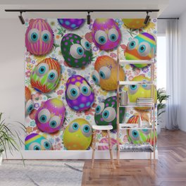 Cute Easter Eggs Cartoon 3d Pattern Wall Mural