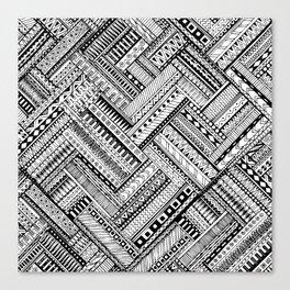 Tribal Ethnic Style  Black & White Canvas Print