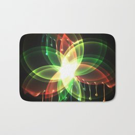 Colorful and shiny flower artwork with paint Bath Mat