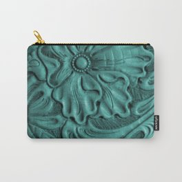 Teal Flower Tooled Leather Carry-All Pouch