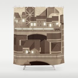 Townscape Vintage Shower Curtain