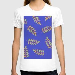 Honey Locust leaves in a primitive print on royal blue T-shirt