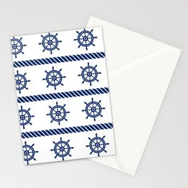 Blue Sea Rope Navy Pattern Stationery Cards