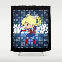magical girl Shower Curtains featuring Magical Girl Cap by monobuu