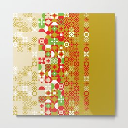 Red gold green abstract modern geometric background, pattern Metal Print