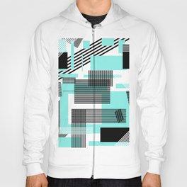 Abstract black teal modern squares stripe pattern Hoody