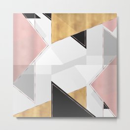 Stylish Gold and Rose Pink Geometric Abstract Design Metal Print