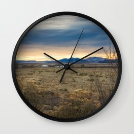 Forever West - Warm Light on a Cold Winter Morning in New Mexico Wall Clock