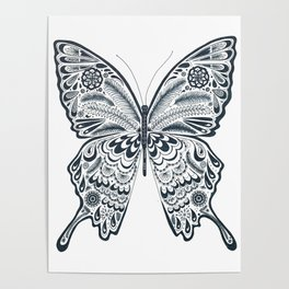 Blue Butterfly Mandala Poster