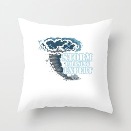 Geographical Storm Chaser Weather Condition Gift Storm Chasing Expert Throw Pillow