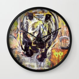 Rhino Charge, African art, Abstract, Wildlife, White Rhino, Painting, Rhino art. Wall Clock