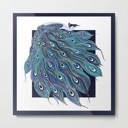 Nouveau Peacock in Blue Metal Print