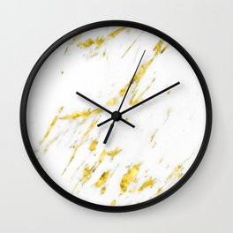 Gold Marble - Yellow Gold Marble Metallic Wall Clock