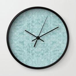 Pale Green and Aqua Diamond Lattice Pattern Wall Clock