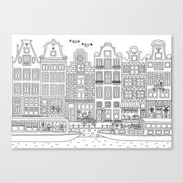 Amsterdam Line Art Canvas Print