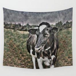 Melancholic Black White Dutch Cow Wall Tapestry