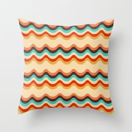 Retro style colorful waves pattern Throw Pillow