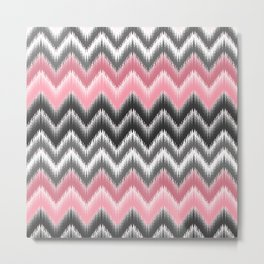 Modern blush pink black geometrical ikat chevron Metal Print