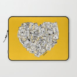 Camera Heart - on yellow Laptop Sleeve