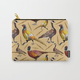 Vintage brown orange colorful pheasant birds pattern Carry-All Pouch