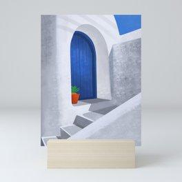 The little blue door - Santorini, Greece - Minimalist Travel Print - Romantic Coastal Vibes Mini Art Print