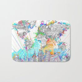 world map city skyline 6 Bath Mat