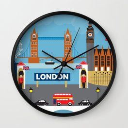 London, England - Collage Illustration by Loose Petals Wall Clock