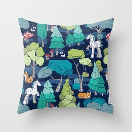 Geometric whimsical wonderland // navy blue background green forest with unicorns foxes gnomes and mushrooms Throw Pillow