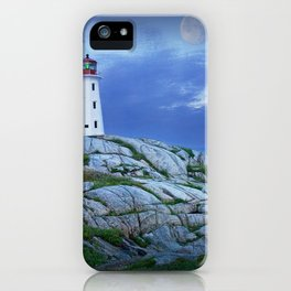 Lighthouse at Peggy's Cove in the Moonlight iPhone Case