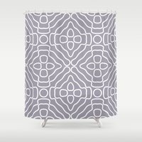 tesla Shower Curtains featuring Tesla Pattern 3 by BeverlyJane