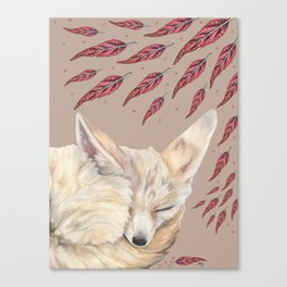 Fennec Fox Feather Dreams in Taupe Canvas Print