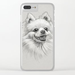 Smiling Dog (Pomeranian) Clear iPhone Case