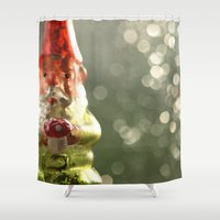 gnome Shower Curtains featuring Gnome & Amanita Love...  by Nature In Art...