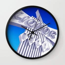 Liquor Deli Vintage Retro Neon Sign Blue Wall Clock