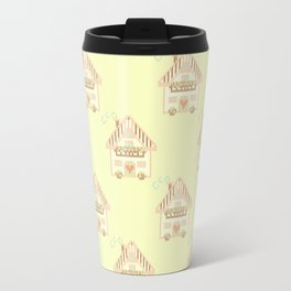 Cute little house cross stitch - light yellow Travel Mug