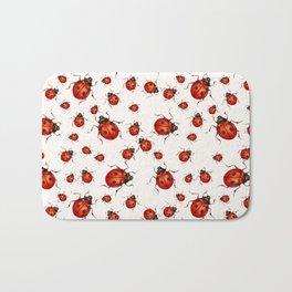LOVING RED LADY BUGS  ON WHITE COLOR DESIGN ART Bath Mat