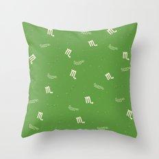 Scorpio Pattern - Green Throw Pillow