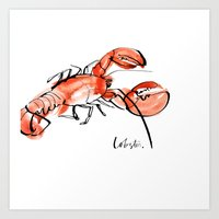lobster Art Prints featuring Lobster  by Julie Song Ink