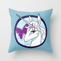 the last unicorn Throw Pillows featuring Last Unicorn by AriesNamarie