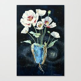 Crystal Dream and Reality, White Poppy Magic Canvas Print